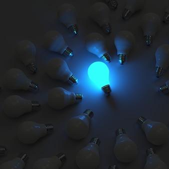 Lampadina crescente 3d che si leva in piedi fuori dalle lampadine incandescenti spente come concetto di direzione