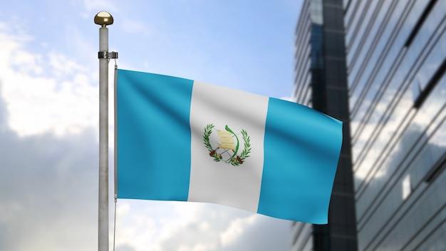 3d, bandiera guatemalteca che ondeggia sul vento con la città moderna del grattacielo. bandiera del guatemala che soffia, seta morbida e liscia. fondo del guardiamarina di struttura del tessuto del panno. giornata nazionale e concetto di occasioni di campagna.