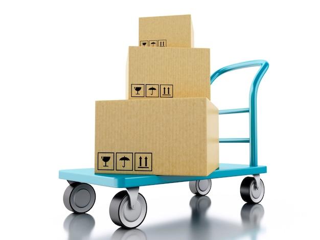 Camion di mano 3d con scatole