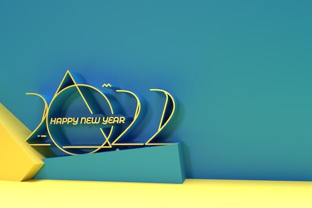 Manifesto dell'insegna di progettazione di tipografia del testo del buon anno 2021 3d, progettazione dell'illustrazione di rendering 3d.