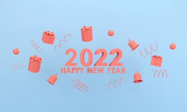 3d. felice anno nuovo 2022 e natale. confezione regalo, campana su sfondo blu