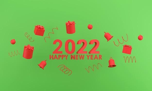 3d. felice anno nuovo 2022 e natale. confezione regalo, campana su sfondo verde