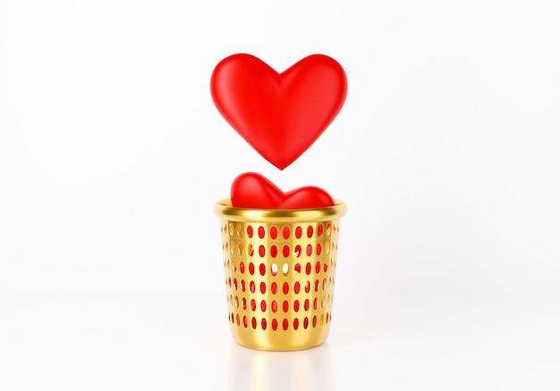 Cuore 3d che cade nel bidone della spazzatura concettuale con il cuore spezzato.