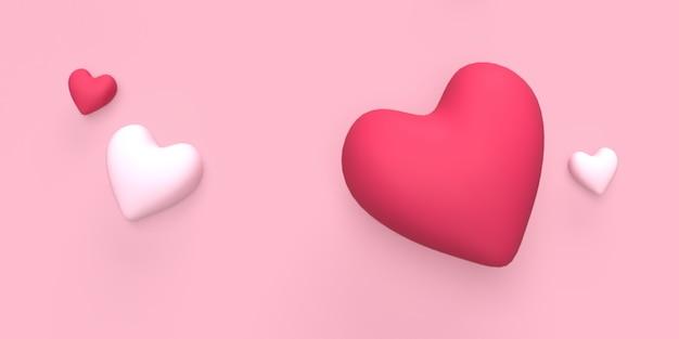 3d cuore d'amore per sfondo romantico o concetto di matrimonio reso