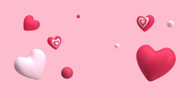 Cuore 3d e marmo che galleggiano con sfondo rosa per il romanticismo o il concetto di matrimonio reso