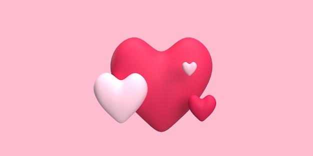 Cuore 3d per concetto romantico con colore di sfondo rosa reso