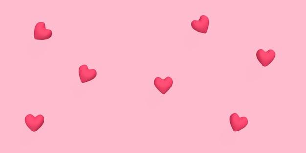 Cuore 3d sparsi sul colore di sfondo rosa reso per il concetto romantico o matrimonio