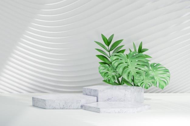 Podio di esagono 3d con la pianta della foglia verde sul fondo bianco dell'onda della curva. rendering dell'illustrazione 3d.