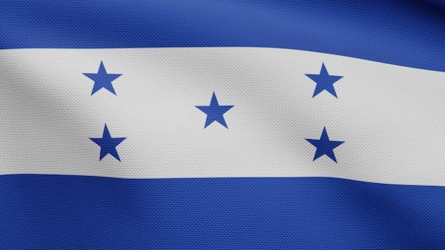 3d, bandiera dell'honduras che fluttua nel vento. primo piano di banner in honduras, seta morbida e liscia. fondo del guardiamarina di struttura del tessuto del panno.