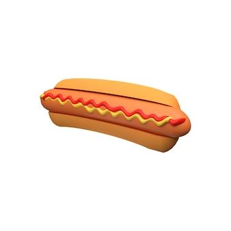 Illustrazione dell'hot dog 3d. rappresentazione 3d dell'hot dog. icona hot dog 3d