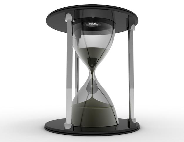 Clessidra 3d. concetto di tempo su sfondo bianco