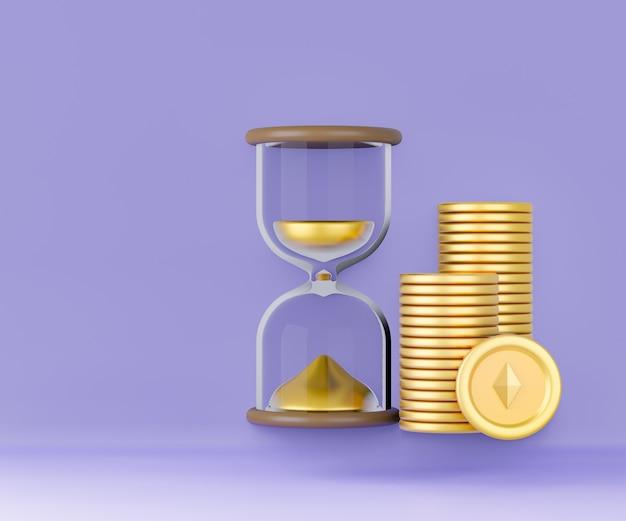 Clessidra 3d con icona di monete d'oro su sfondo viola. illustrazione di rendering 3d