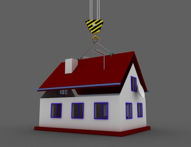 Casa 3d e gru. costruzione di una casa. 3d reso illustrazione