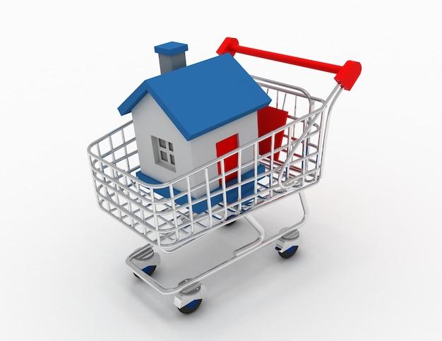 Casa 3d in un carrello isolato su bianco nella progettazione delle informazioni relative all'acquisto di beni immobili. illustrazione 3d
