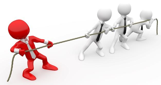 Essere umano 3d che tira una corda
