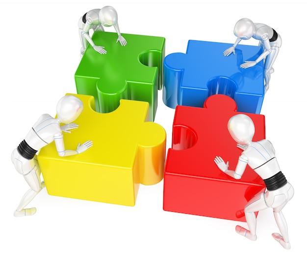 Robot umanoide 3d che risolve il puzzle. lavoro di squadra