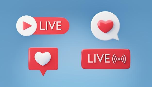 3d icona rossa gioco dal vivo e bolla del cuore su sfondo blu. rendering dell'illustrazione 3d. immagine del tracciato di ritaglio.