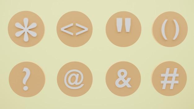 Pacchetto di simboli di icone 3d con vari simboli