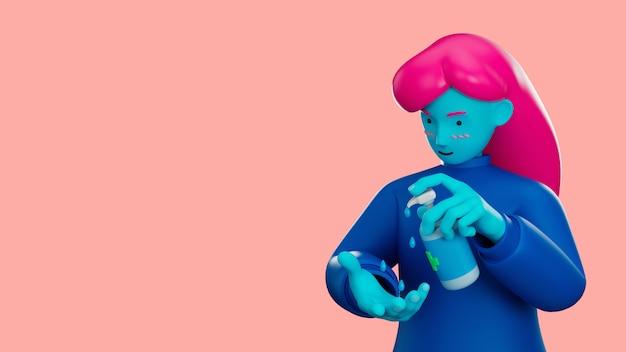 3d illustrano il personaggio dei cartoni animati usando la mano detergente con gel di alcol per proteggere il virus dell'influenza e della corona covid-19.