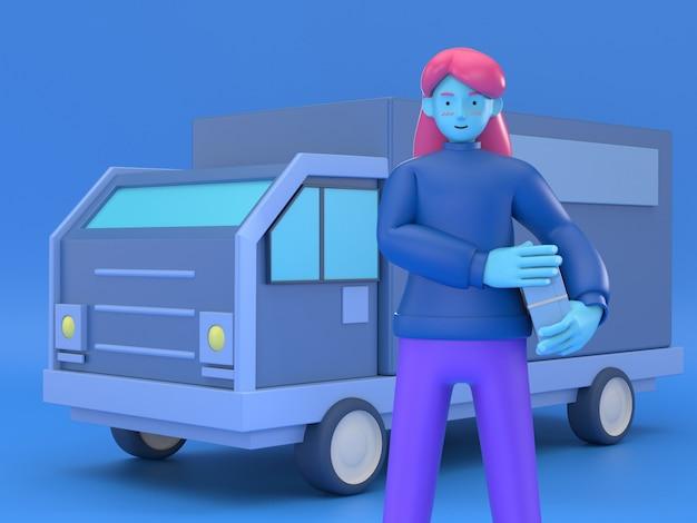 3d illustrano la donna di consegna con le scatole davanti al furgone come servizio di consegna locale e concetto di spedizione.