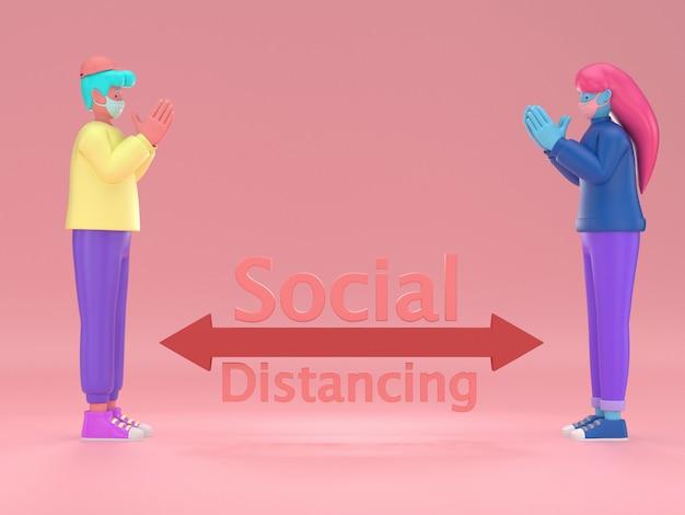 3d illustrano thai wai, social distancing, persone che mantengono le distanze per il rischio di infezione e malattie, indossando una maschera protettiva per prevenire il virus covid-19. concetto di assistenza sanitaria.