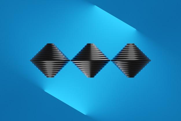Illustrazione 3d di 3 giocattoli whirligig neri in una riga su sfondo blu