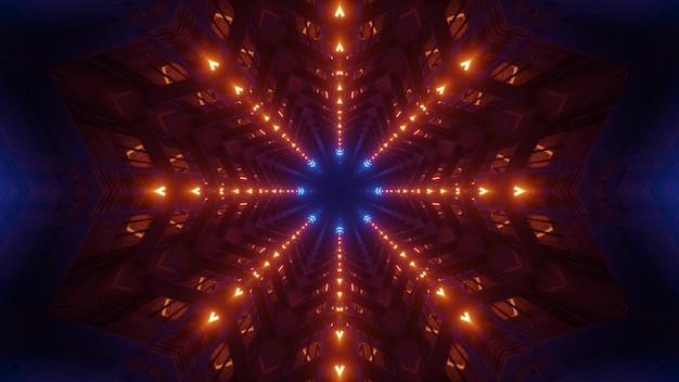 Illustrazione 3d di 4k uhd sfondo astratto del corridoio tridimensionale geometrico illuminato da colori al neon rosso e blu