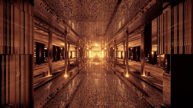 Illustrazione 3d di 4k uhd sfondo astratto del corridoio al neon illuminato con bandiera americana