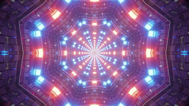 Illustrazione 3d di sfondo astratto 4k uhd del corridoio simmetrico nello stile della bandiera americana con pareti illuminate da colori al neon rosso e blu