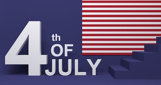 Illustrazione 3d del 4 luglio. festa dell'indipendenza dell'america