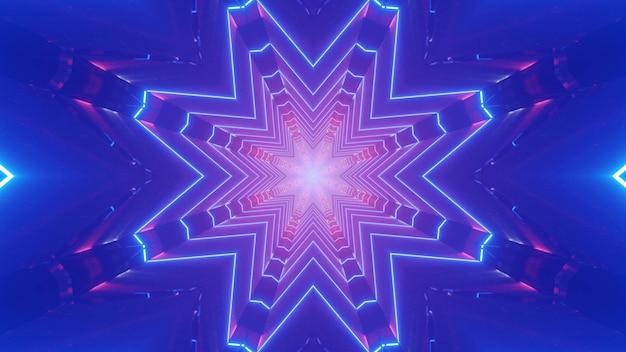 Sfondo di arte astratta illustrazione 3d con effetto di illusione ottica creato di ornamento a forma di cristallo geometrico con illuminazione al neon rosa e viola