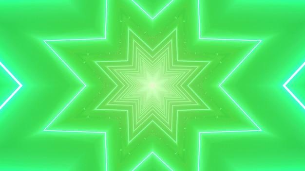 Fondo festivo visivo di arte astratta dell'illustrazione 3d con le stelle al neon simmetriche e le scintille su uno sfondo verde brillante