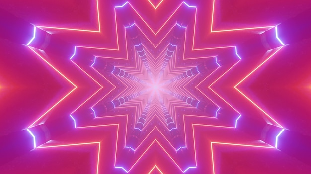 Illustrazione 3d di arte astratta visiva con linee geometriche al neon che creano un motivo a forma di stella per lo sfondo della decorazione della festa notturna