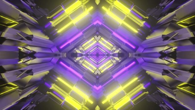3d illustrazione di sfondo astratto di un luminoso tunnel a forma di rombo con luci al neon gialle e viola