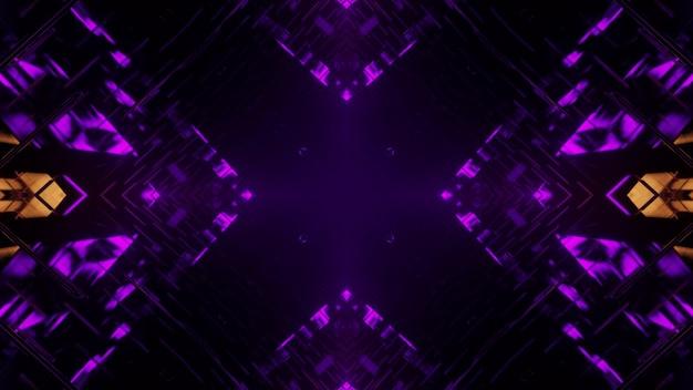 3d illustrazione di sfondo astratto del buio interminabile a forma di croce tunnel con illuminazione viola e gialla