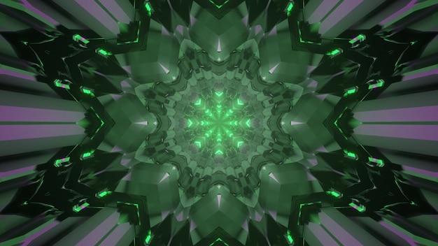 Fondo astratto dell'illustrazione 3d della prospettiva futuristica del tunnel con il disegno geometrico simmetrico e l'illuminazione al neon verde