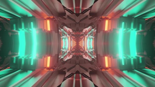 3d illustrazione di sfondo astratto del corridoio geometrico incandescente con luci al neon blu e rosse
