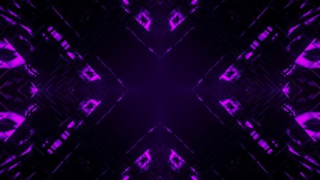 3d illustrazione di sfondo astratto del corridoio geometrico a forma di croce incandescente con illuminazione viola