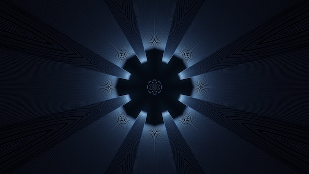 3d illustrazione di sfondo astratto geometrico del tunnel scuro con luce e raggi