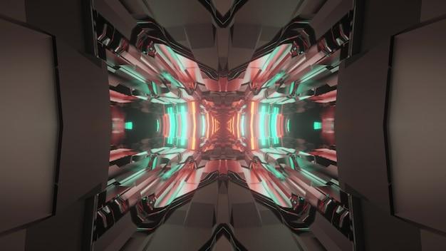 3d illustrazione di sfondo astratto del tunnel geometrico con illuminazione al neon blu e rosso