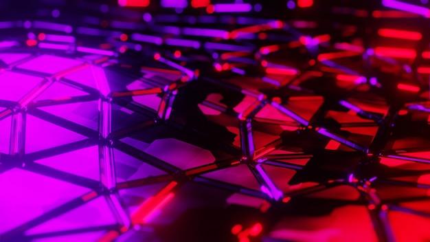 3d illustrazione astratto sfondo metallico lucido futuristico luce al neon colorato