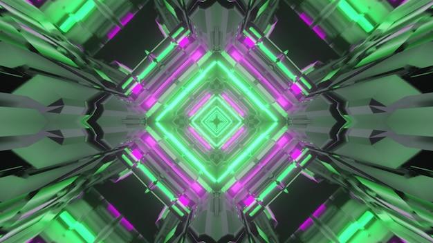 3d illustrazione di sfondo astratto di sci fi tunnel a forma di rombo incandescente