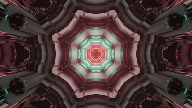 3d illustrazione di sfondo astratto di simmetrica tunnel futuristico con forme geometriche incandescente con illuminazione al neon