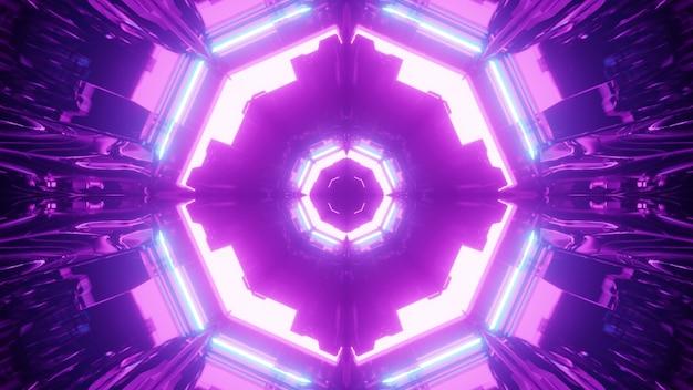 3d illustrazione di sfondo astratto di vibrante tunnel con forme simmetriche incandescente con luci al neon viola