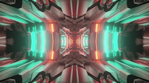 3d illustrazione di sfondo astratto di vivido corridoio con forme geometriche illuminate con luci al neon