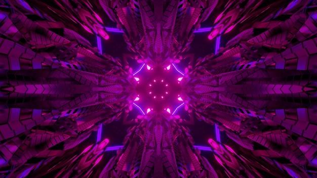 Fondo astratto dell'illustrazione 3d con ornamento caleidoscopico lucido e linee geometriche che creano l'illusione ottica del tunnel futuristico con illuminazione al neon nei colori rosa e viola
