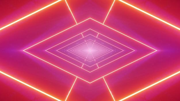 Fondo astratto dell'illustrazione 3d con rombo geometrico rigoroso creato di linee al neon incandescente su sfondo rosa luminoso