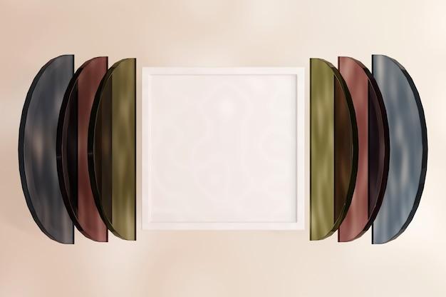 Illustrazione 3d. bandiera astratta. stile minimalista tonalità di colore pastello. trama alla moda. vocazione stagionale, stile alla moda. spazio per testo e logo