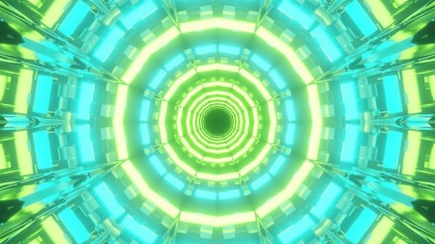 Illustrazione 3d dell'estratto del tunnel luminoso a forma rotonda illuminato con luci al neon verdi e blu