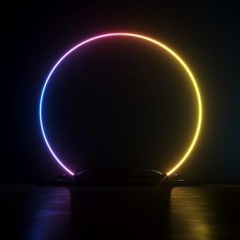 Illustrazione 3d. anello scuro astratto dal plasma.
